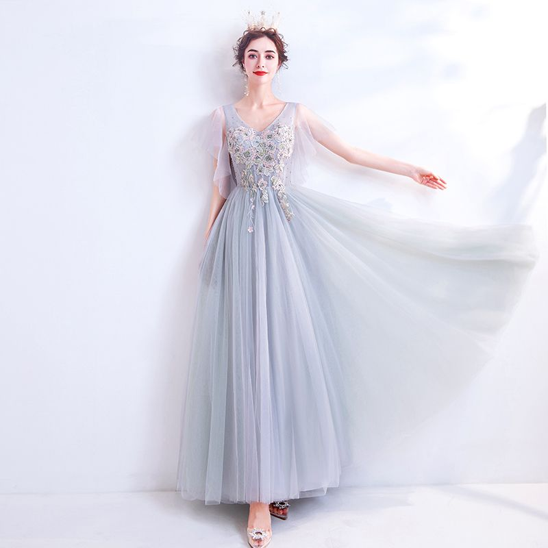 Elegant Grey Evening Dresses  2020 A-Line / Princess V-Neck Pearl Rhinestone Lace Flower Short Sleeve Backless Floor-Length / Long Formal Dresses