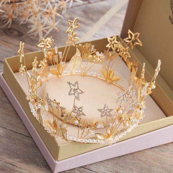 Chic / Beautiful Star Rhinestone Gold Tiara 2019 Bridal Hair Accessories Metal Beading Crystal Pearl Accessories