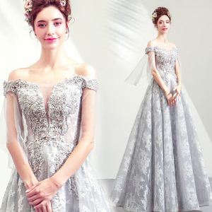 Illusion Grey See-through Evening Dresses  2019 A-Line / Princess Off-The-Shoulder 3/4 Sleeve Appliques Lace Beading Sequins Floor-Length / Long Ruffle Backless Formal Dresses