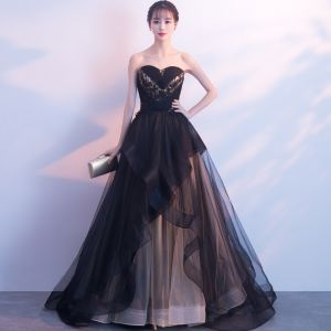 Elegant Black Evening Dresses  2019 A-Line / Princess Lace Beading Crystal Sequins Strapless Sleeveless Backless Court Train Formal Dresses