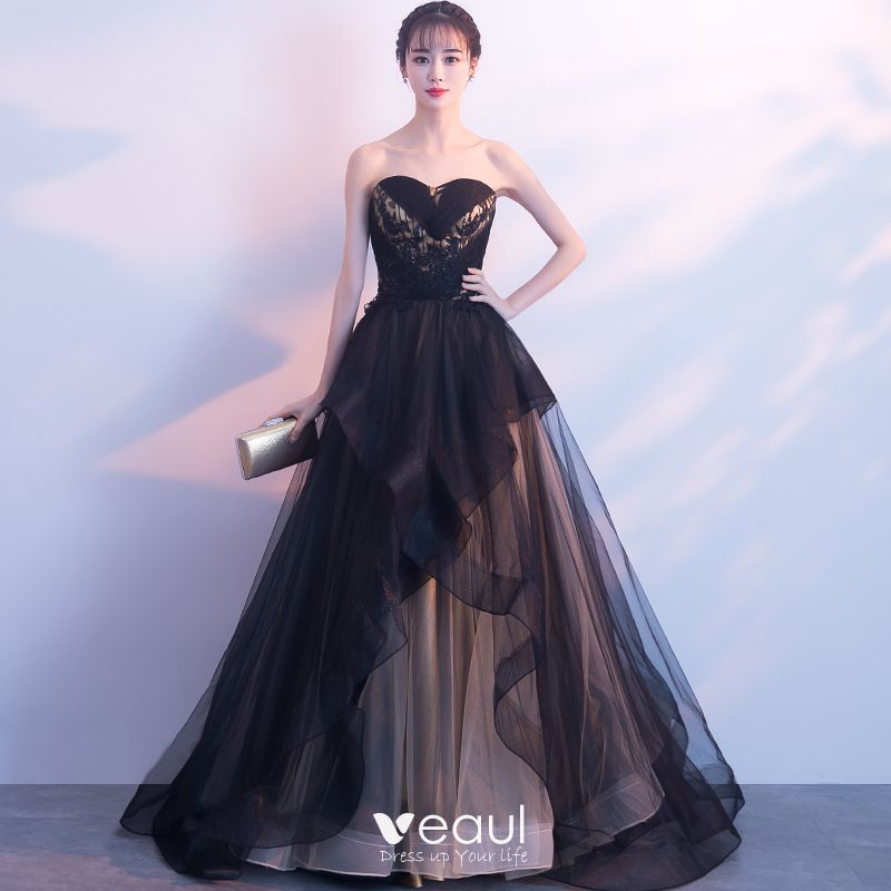 Elegant Black Evening Dresses 2019 A Line Princess Lace Beading Crystal Sequins Strapless Sleeveless Backless Court Train Formal