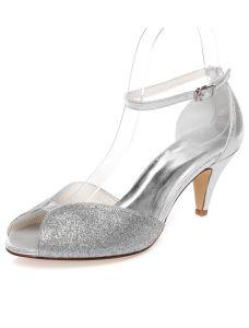 Sparkly Bruidssandalen Peep Toe Zilveren Glitter Trouwschoenen Stiletto Hakken Met Enkelbandje