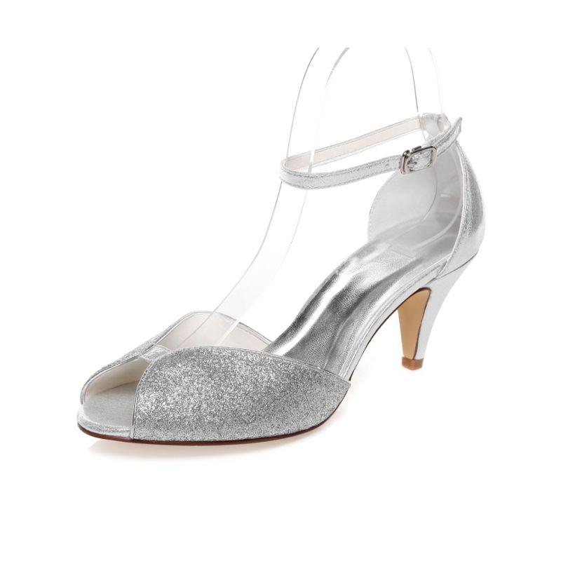 662ddc3fb18 Sparkly Bruidssandalen Peep Toe Zilveren Glitter Trouwschoenen ...