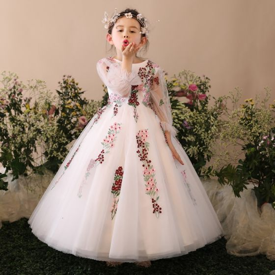 Chic / Beautiful Church Wedding Party Dresses 2017 Flower Girl Dresses White Ball Gown Floor-Length / Long Scoop Neck Long Sleeve Rhinestone Flower Appliques