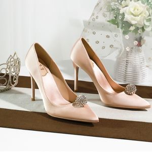 Piękne Białe Rhinestone Buty Ślubne 2020 Skórzany 10 cm Szpilki Szpiczaste Ślub Czółenka
