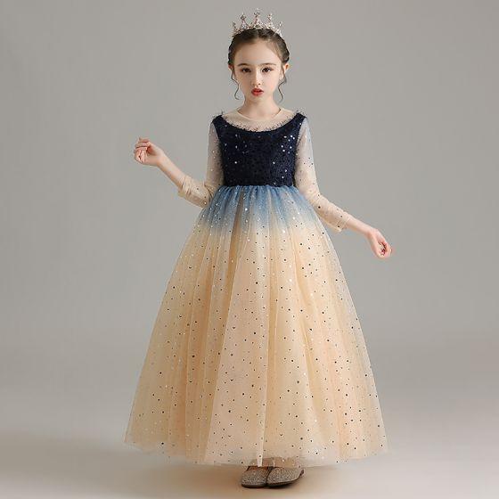 Elegantes Champán Cumpleaños Vestidos para niñas 2020 Ball Gown Scoop Escote 3/4 Ærmer Lentejuelas Largos Ruffle