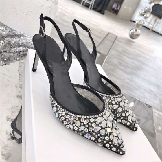 Chic / Beautiful Black Evening Party Womens Shoes 2019 Leather Beading Crystal Rhinestone 10 cm Stiletto Heels Pointed Toe High Heels