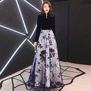 Elegant Navy Blue Evening Dresses  2019 A-Line / Princess High Neck Suede Rhinestone Long Sleeve Floor-Length / Long Formal Dresses