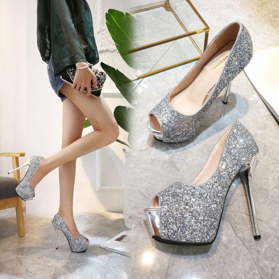 Moda Negro Rave Club Lentejuelas Zapatos De Mujer 2021 14 cm Stilettos / Tacones De Aguja Peep Toe High Heels