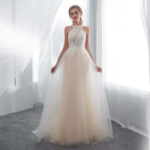 Discount Champagne Pierced Wedding Dresses 2018 Empire Scoop Neck Strapless Sleeveless Appliques Lace Pearl Sash Sweep Train Ruffle