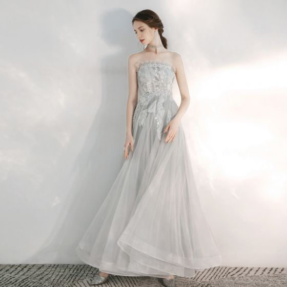 Elegant Grey Evening Dresses  2020 A-Line / Princess Strapless Sleeveless Appliques Lace Sequins Beading Floor-Length / Long Backless Ruffle Formal Dresses