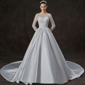 Modest / Simple Ivory Satin Wedding Dresses 2019 A-Line / Princess See-through Scoop Neck Long Sleeve Backless Appliques Lace Cathedral Train Ruffle