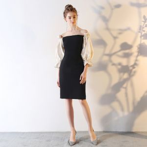 Modest / Simple Black Party Dresses 2018 Off-The-Shoulder Backless 3/4 Sleeve Short Formal Dresses