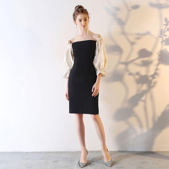 Modest / Simple Black Party Dresses 2018 Off-The-Shoulder Backless 3/4 Sleeve Short Formal Dresses