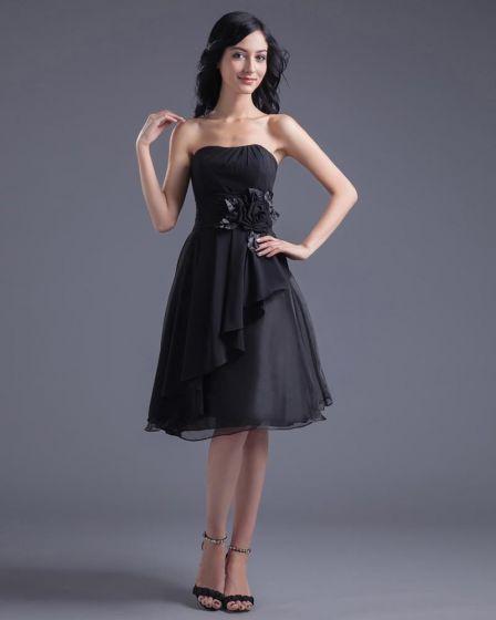 Mode Chiffon Applique Strapless Knie Lengte Zwart Feestjurk