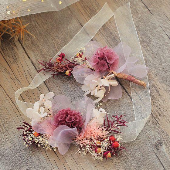 Bloemenfee Multi-Kleuren Haaraccessoires 2019 Tule Bloem Handgemaakt Huwelijk Accessoires