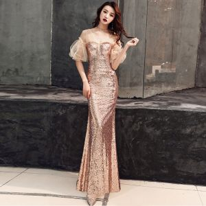 Sparkly Gold Evening Dresses  2019 Trumpet / Mermaid V-Neck Sequins Puffy Short Sleeve Backless Floor-Length / Long Formal Dresses