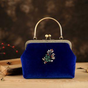 Chinesischer Stil Vintage Königliches Blau Velour Perlenstickerei Quadratische Clutch Tasche 2020
