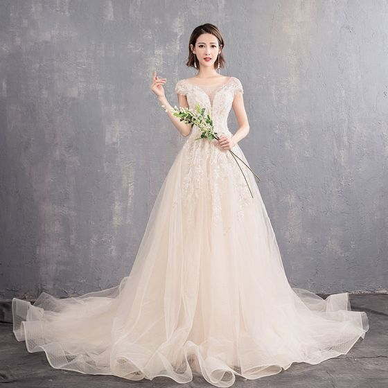 Elegant Champagne See-through Wedding Dresses 2019 A-Line / Princess Scoop Neck Cap Sleeves Backless Appliques Lace Beading Pearl Chapel Train Ruffle