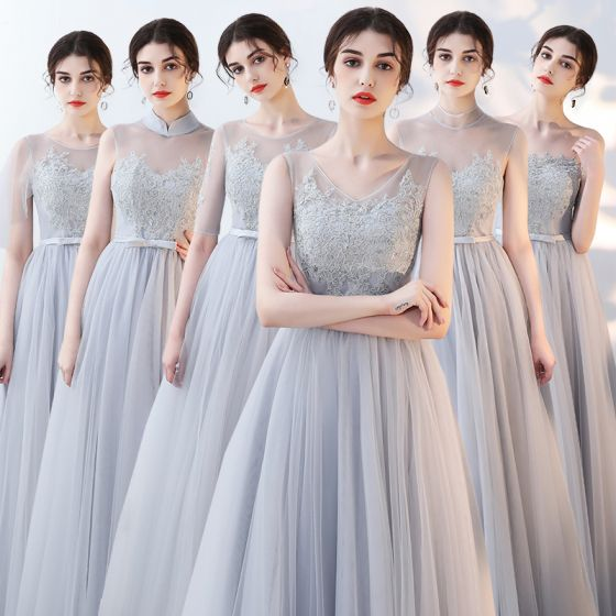 Affordable Grey See-through Summer Bridesmaid Dresses 2018 A-Line / Princess Appliques Lace Bow Sash Floor-Length / Long Ruffle Backless Wedding Party Dresses