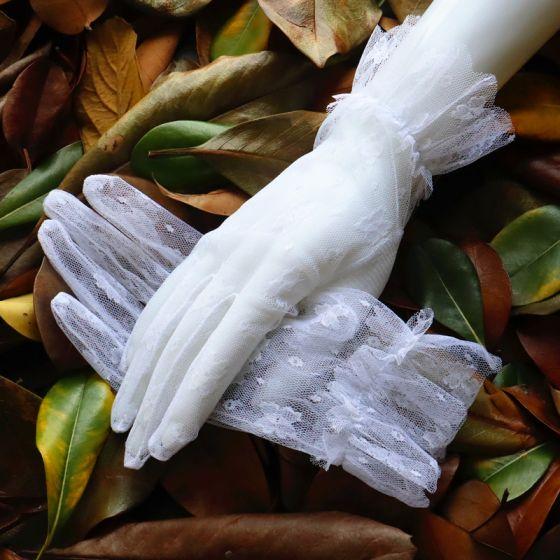 Klasyczna Eleganckie Białe Rękawiczki Ślubne 2020 Tiulowe Z Koronki Kwiat Bal Ślub Akcesoria