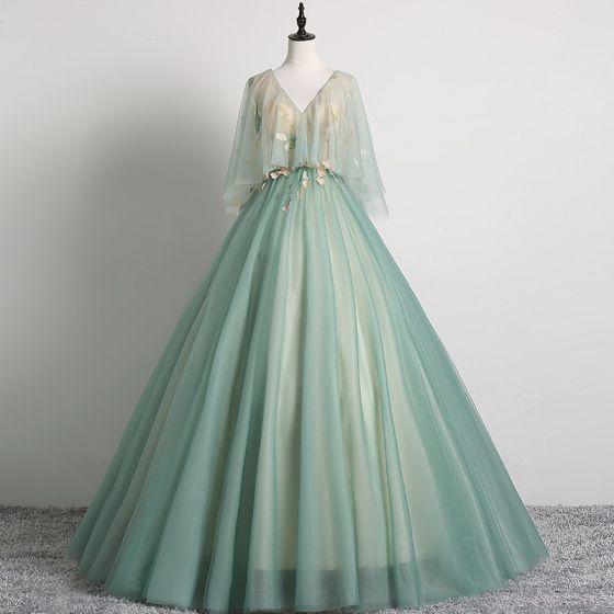 Elegantes Verde Salvia Vestidos de gala 2019 Ball Gown V-Cuello Con Encaje Flor 1/2 Ærmer Sin Espalda Largos Vestidos Formales