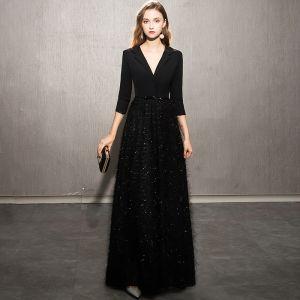 Elegant Black Evening Dresses  2019 A-Line / Princess V-Neck Bow Sequins Tassel 3/4 Sleeve Floor-Length / Long Formal Dresses