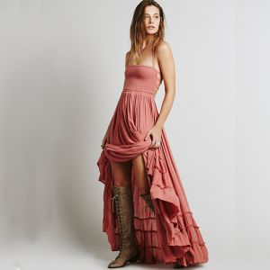 Modest / Simple Blushing Pink Floor-Length / Long Maxi Dresses 2018 A-Line / Princess Beach Strappy Rayon Spaghetti Straps Summer Women's Clothing