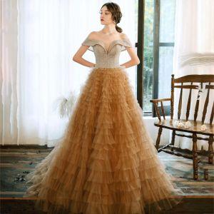 Charming Champagne Evening Dresses  2020 A-Line / Princess Off-The-Shoulder Short Sleeve Glitter Tulle Floor-Length / Long Cascading Ruffles Backless Formal Dresses