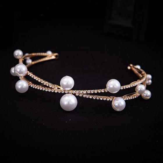 Elegant Gold Headpieces Bridal Hair Accessories 2020 Alloy Pearl Rhinestone Wedding Accessories