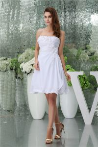2015 Charming A-line Sweetheart Pleated Handmade Flowers Short Bridal Gown Simple Wedding Dress