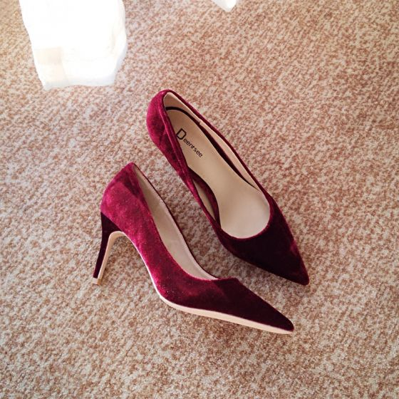 Modest / Simple Burgundy Office OL Suede Pumps 2020 Leather 10 cm Stiletto Heels Pointed Toe Pumps