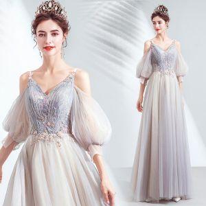Charming Grey Prom Dresses 2020 A-Line / Princess V-Neck Beading Sequins Lace Flower Short Sleeve Backless Floor-Length / Long Formal Dresses
