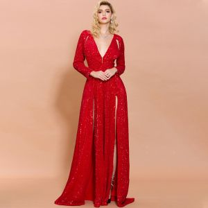 Sexy Red Sequins Evening Dresses  2020 A-Line / Princess Deep V-Neck Sleeveless Split Front Sweep Train Ruffle Formal Dresses