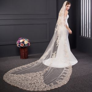 Luxury / Gorgeous Champagne Tulle Lace Appliques 3 m Outdoor / Garden Wedding Veils 2017