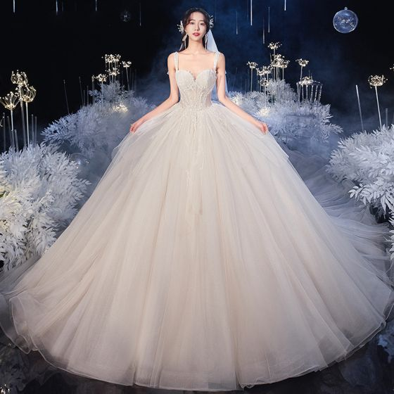 Luxury / Gorgeous Champagne Bridal Wedding Dresses 2020 Ball Gown Shoulders Sleeveless Backless Beading Sequins Royal Train Ruffle