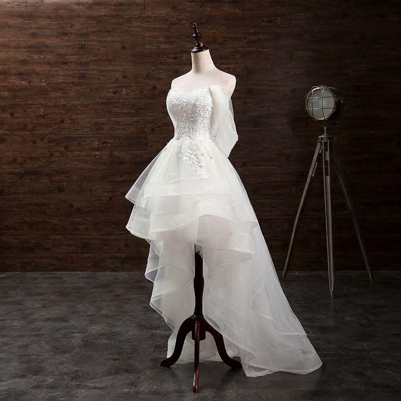 Romantic Beach Wedding Dresses 2017 Sweetheart Sleeveless Appliques Lace Ruffle Backless Ivory Organza Asymmetrical