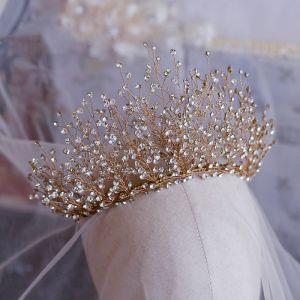 Luxury / Gorgeous Gold Bridal Hair Accessories 2019 Metal Rhinestone Tiara Wedding Accessories