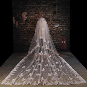 Luxus-tailing Super Lange Spitze Laciness Schleier Weichen Brautschleier