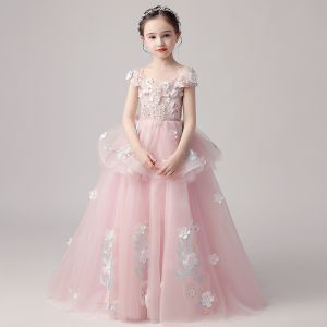 Chic / Beautiful Pearl Pink Flower Girl Dresses 2019 Ball Gown Off-The-Shoulder Short Sleeve Appliques Flower Beading Pearl Floor-Length / Long Ruffle Backless Wedding Party Dresses
