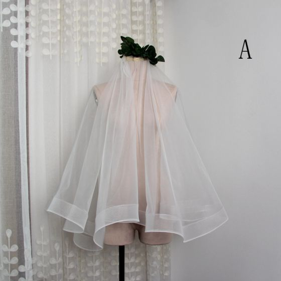 Modern / Fashion White Short Wedding Veils Ruffle Chiffon Wedding Accessories 2019