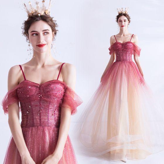 Charmant Rouge Dégradé De Couleur Robe De Soirée 2020 Princesse Bretelles Spaghetti Glitter Étoile Manches Courtes Dos Nu Longue Robe De Ceremonie