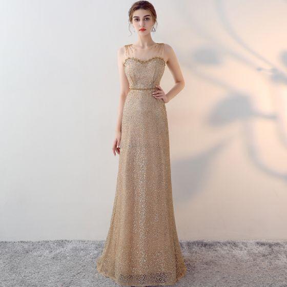 Scintillantes Doré Robe De Soirée 2017 Princesse Encolure Dégagée Sans Manches Perlage Faux Diamant Paillettes Perle Ceinture Longue Percé Robe De Ceremonie