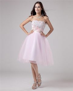 Organza Pleated Beading Strapless Knee Length Graduation Dresses