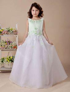 White A-line Jewel Satin Floor Length Flower Girl Dress