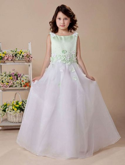 White A-line Jewel Satin Floor Length Flower Girl Dress