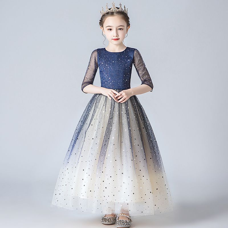 Chic / Beautiful Navy Blue Gradient-Color Flower Girl Dresses 2020 A-Line / Princess Square Neckline 1/2 Sleeves Star Glitter Sequins Ankle Length Ruffle Wedding Party Dresses