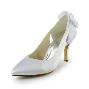 Chic White Pumps Stiletto Heels Satin 3 Inch Bridal Wedding Shoes With Bow