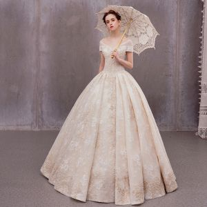 Luxury / Gorgeous Champagne Outdoor / Garden Wedding Dresses 2020 A-Line / Princess V-Neck Short Sleeve Backless Beading Pearl Appliques Lace Floor-Length / Long Ruffle