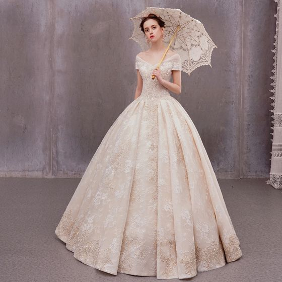 Luxury Gorgeous Champagne Outdoor Garden Wedding Dresses 2020